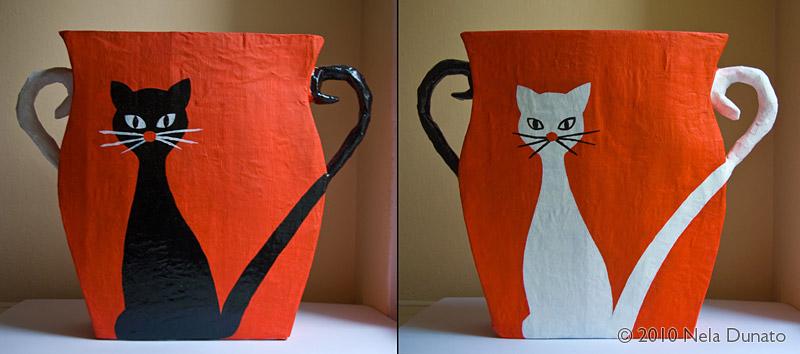 Koš za papir od kartona i kaširanog papira oslikan akrilnom bojom