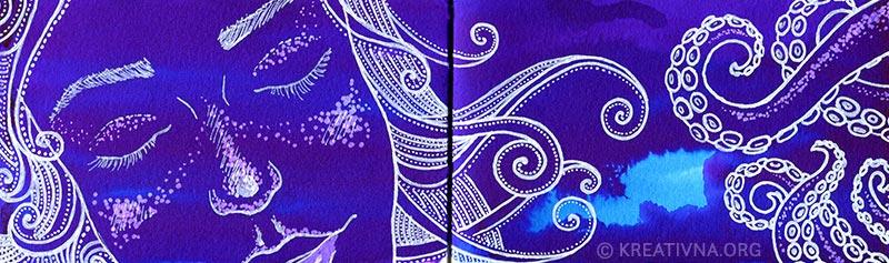 Crtkarija sirena - bijeli marker i tuš u boji