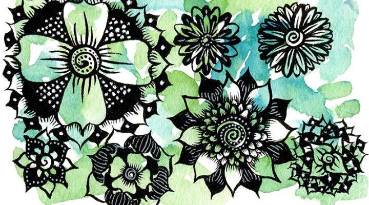 Cvijetne crtkarije - tuš i markeri