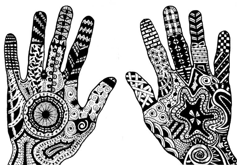 Crtkarije unutar kontura dlanova