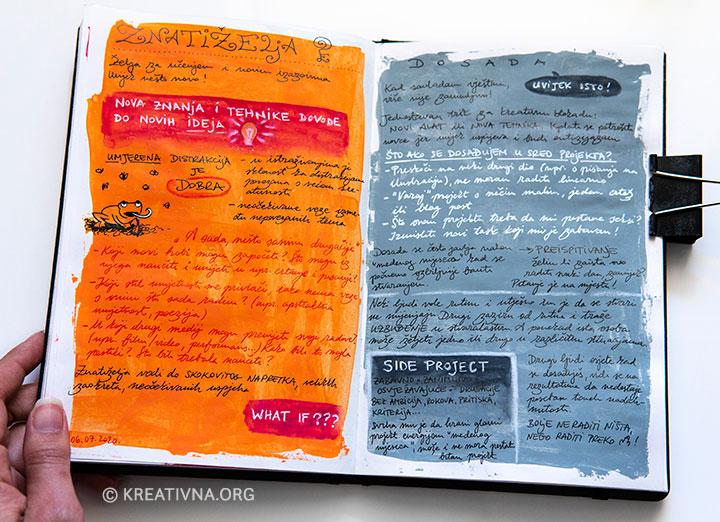 Bilješke u vizualnom dnevniku za knjigu Ključevi kreativnosti – Znatiželja i dosada