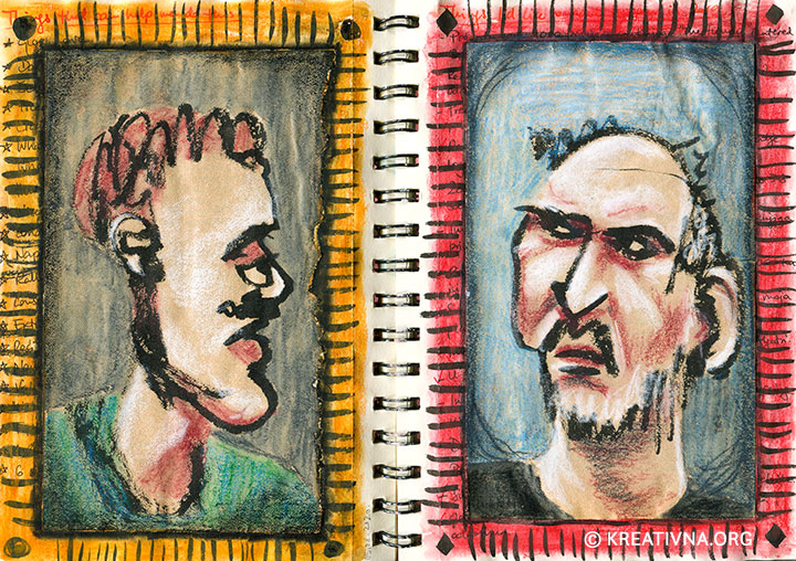 Portreti crtani slijepom konturom, kombinirana tehnika