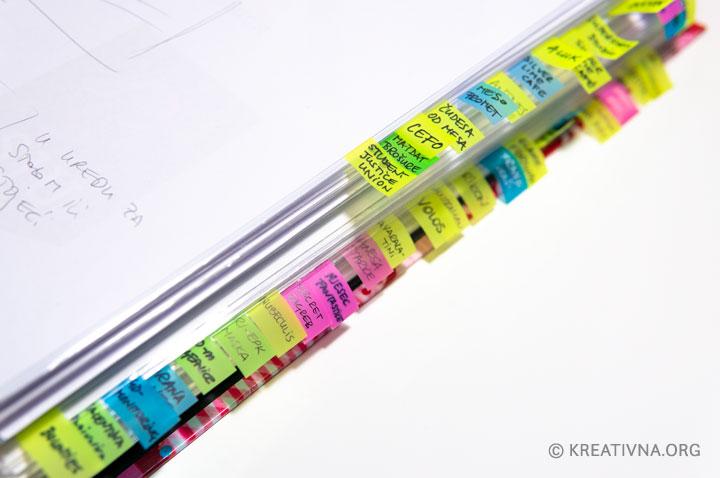 Organizacija ideja u registratoru s oznakama u boji