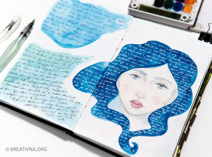 Vizualni dnevnik sa crtežom i obojenom podlogom – Nela Dunato